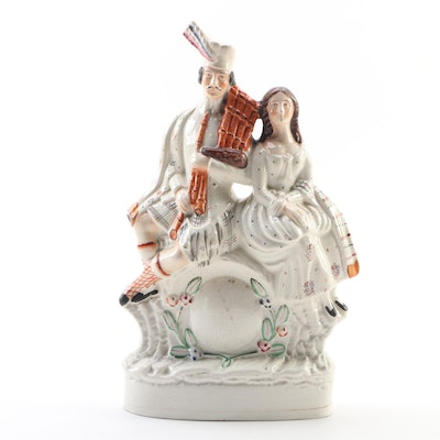 English Staffordshire Highlanders Clock Figurine, Mid to Late 19th Century
