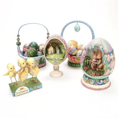 Jim Shore Easter Figurines Including Diorama Egg