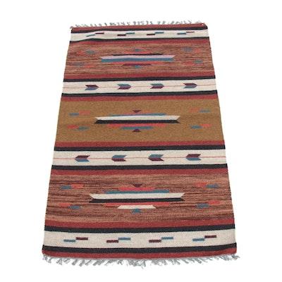 3' x 5'2 Hand-Woven Indo-Turkish Kilim Rug, 2000s