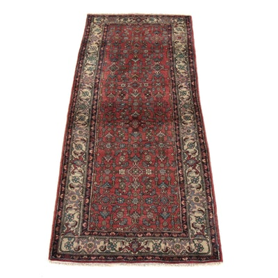3'7 x 9'0 Hand-Knotted Persian Bijar Wide Runner Rug, 1970s