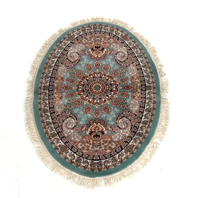 3'9 x 5'4 Power-Loomed Persian Tabriz Oval Rug, 2000s