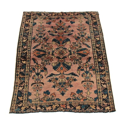 3'9 x 4'9 Hand-Knotted Persian Lilihan Rug, 1920s