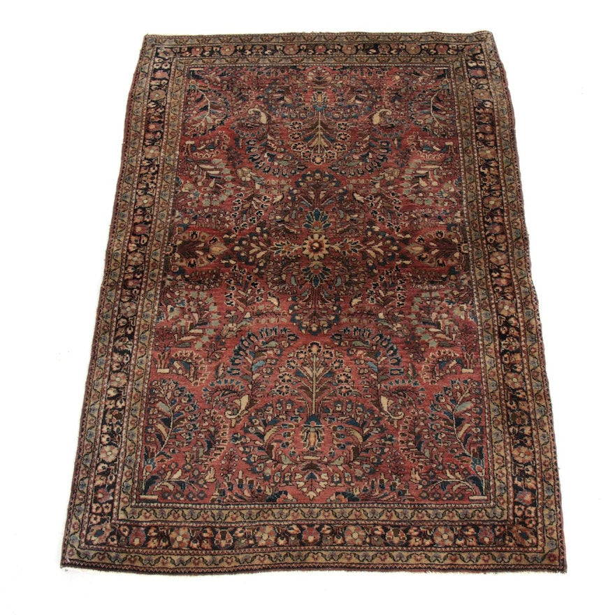 3'3 x 5' Hand-Knotted Persian Sarouk Rug, 1920's