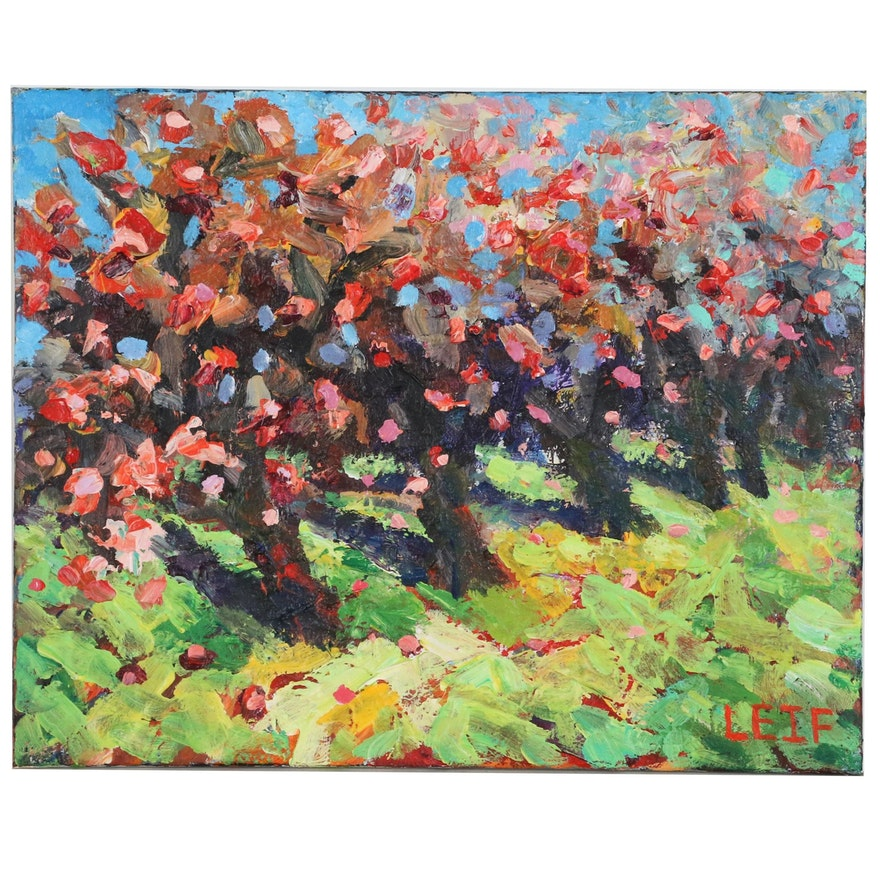 """Leif Janek Abstract landscape Acrylic Painting """"Cherry Blossoms"""", 21st Century"""