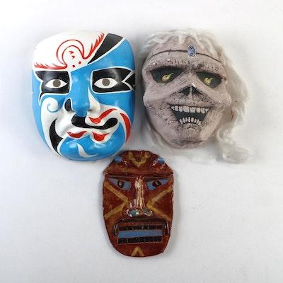 Ceramic and Paper Mache Decorative Wall Masks