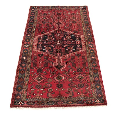 4'2 x 7'6 Hand-Knotted Persian Zanjan Rug, 1970s