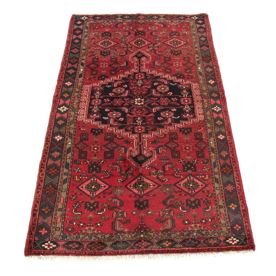 4'2 x 7'6 Hand-Knotted Persian Zanjan Rug, 1970s