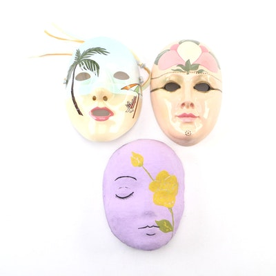 Japanese and Italian Ceramic and Paper Mache Decorative Wall Masks