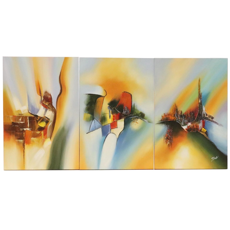 Abstract Triptych Oil Painting, 21st Century