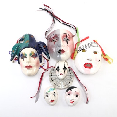 Masquerade Ball-Inspired Decorative Ceramic Wall Masks and Miniature Mask Decor