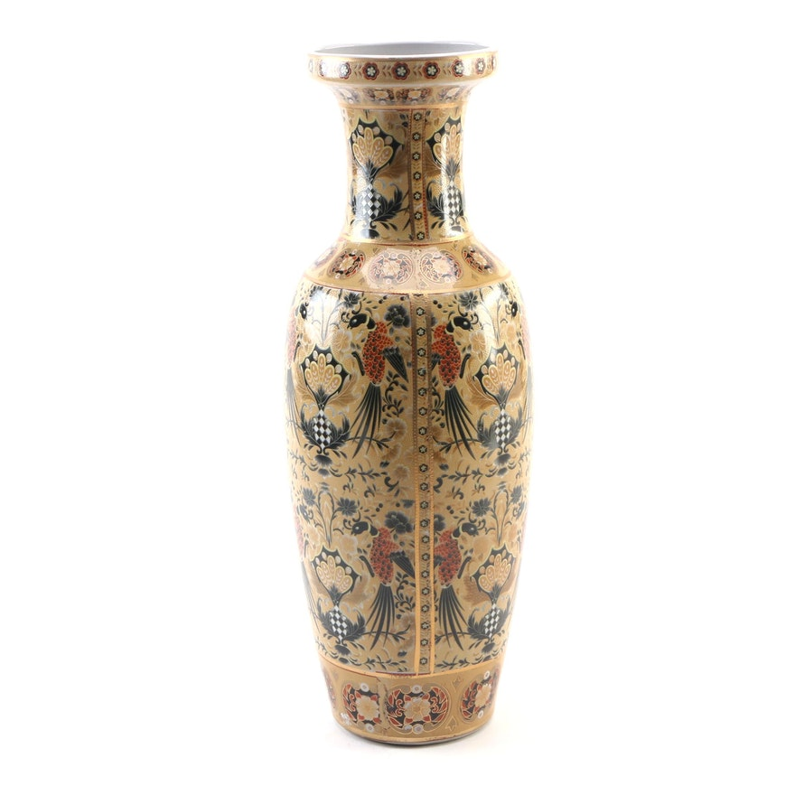 Chinese Ceramic Vase with Birds and Flowers Motif