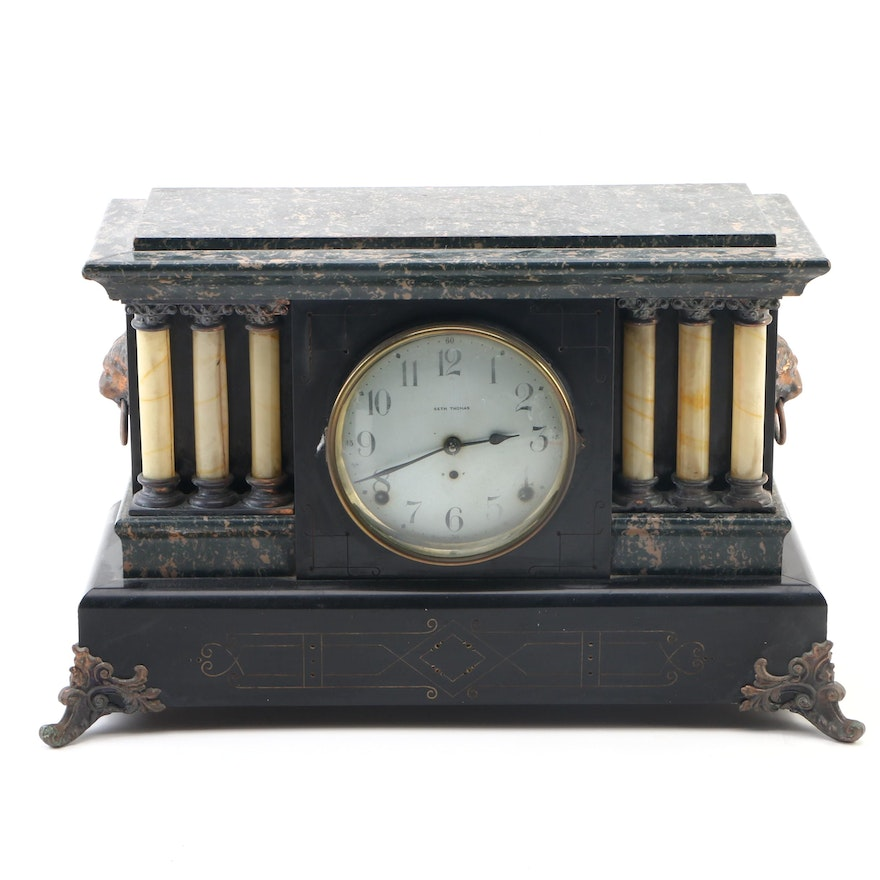 Seth Thomas Adamantine and Brass Mantle Clock, Late 19th Century