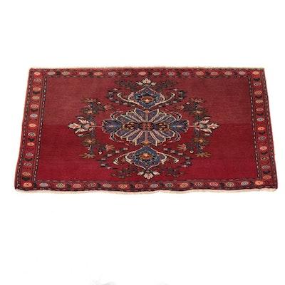 2'2 x 4'0 Hand-Knotted Persian Bijar Rug, 1980s