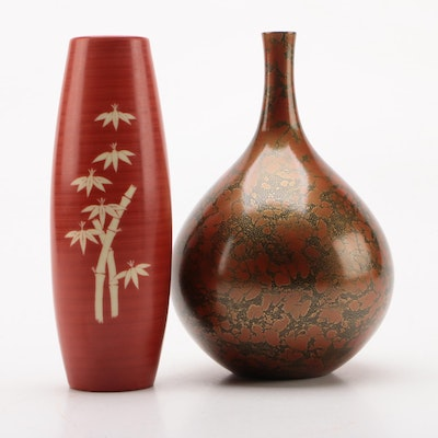 East Asian Style Porcelain and Metal Bud Vases, Contemporary