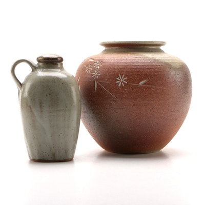 Stoneware Pottery Vase and Lidded Jug