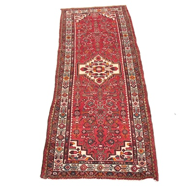 3'8 x 10'3 Hand-Knotted Persian Zanjan Wide Runner Rug, 1970s