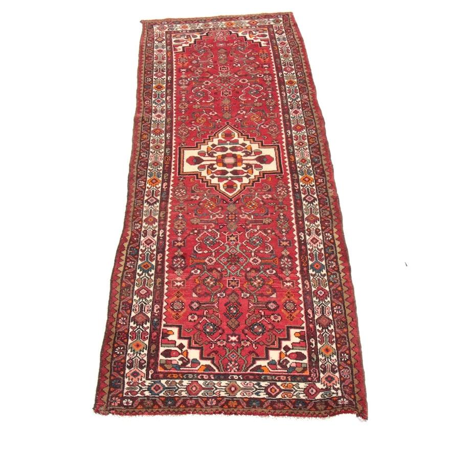 3'8 x 10'3 Hand-Knotted Persian Zanjan Wide Runner Rug, 1970s