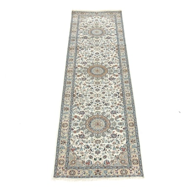 2'10 x 10'3 Hand-Knotted Persian Nain Silk Blend Runner Rug, 2000s