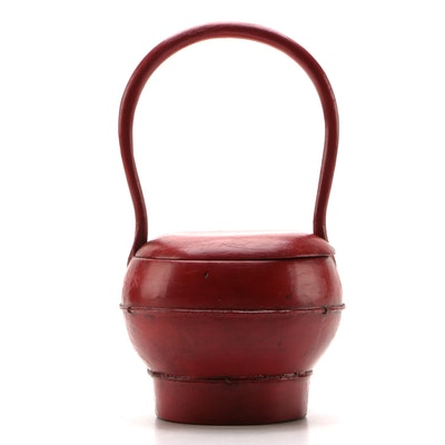 Chinese Wooden Red Lacquer Wedding Basket with Curved Handles