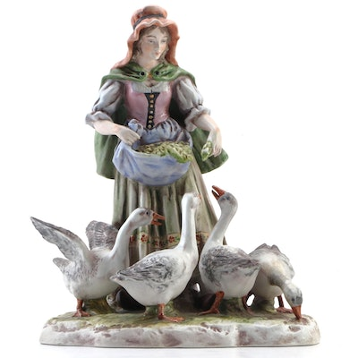 Capodimonte Style Village Woman Feeding Ducks Porcelain Figurine