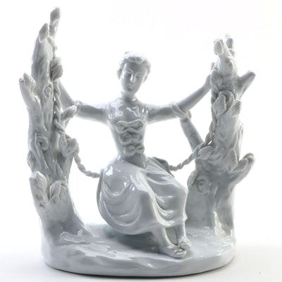 Maitland-Smith Handmade Chinese Porcelain Lady on Swing Figurine