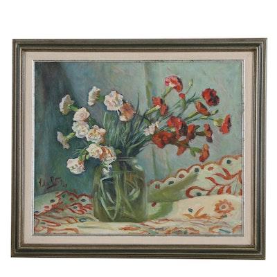 John Rettig Floral Still Life Oil Painting, 1920