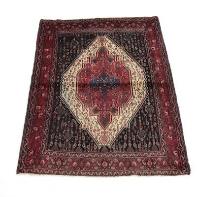 3'11 x 5'0 Hand-Knotted Persian Senneh Bijar Rug, 1960s