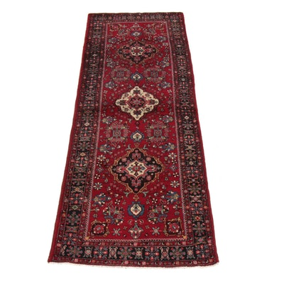 3'10 x 10'10 Hand-Knotted Persian Tabriz Wide Runner Rug, 1970s