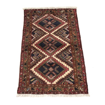 2'6 x 4'2 Hand-Knotted Persian Zanjan Rug, 1980s