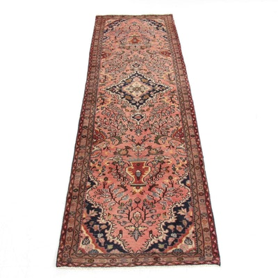 2'10 x 9'9 Hand-Knotted Persian Heriz Vase of Flowers Pictorial Rug, 1970s