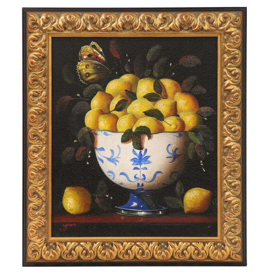 Quispe Malca Gilmer Oil Painting Still Life of a Bowl of Lemons
