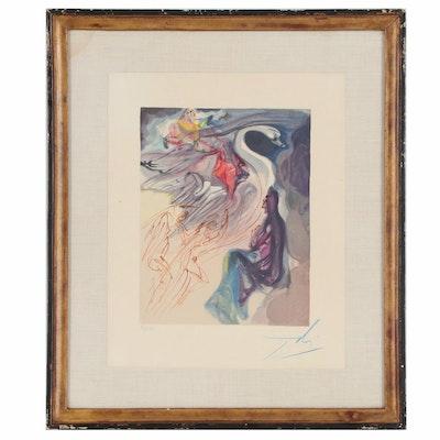 """Salvador Dalí Wood Engraving """"Le langage de l'oiseau"""""""