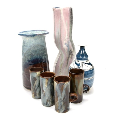 George Woideck Vase and Other Art Pottery Pieces, Late 20th- Early 21st Century