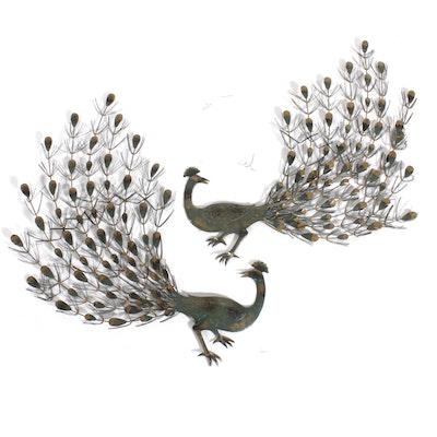 Pair of Metal Peacock Wall Hangings