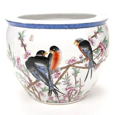 Chinese Painted Ceramic Fish Bowl, Late 20th Century