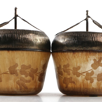 Bronze Tone Lidded Etched Glass Acorn Boxes from The Silky Way