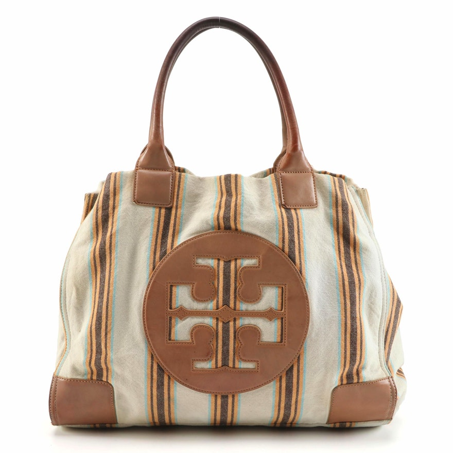 Tory Burch Tote in Striped Canvas and Light Brown Leather