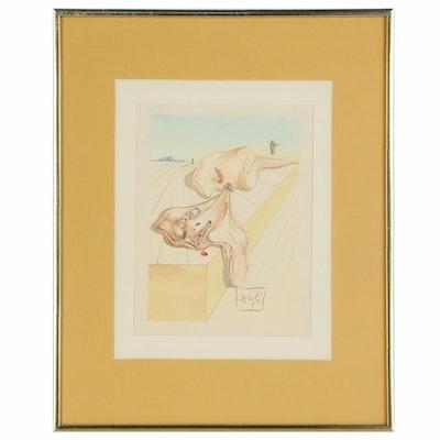 """Salvador Dalí Wood Engraving """"Les hommes qui s'entre-dévorent"""""""