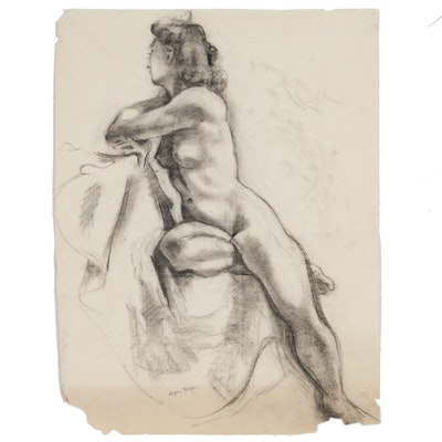 Edgar Yaeger Charcoal Figure Drawing of Seated Female Nude