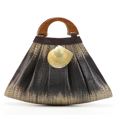 Woven Natural Fiber Ombré Bag with Mother-of-Pearl Shell and Wood Handles