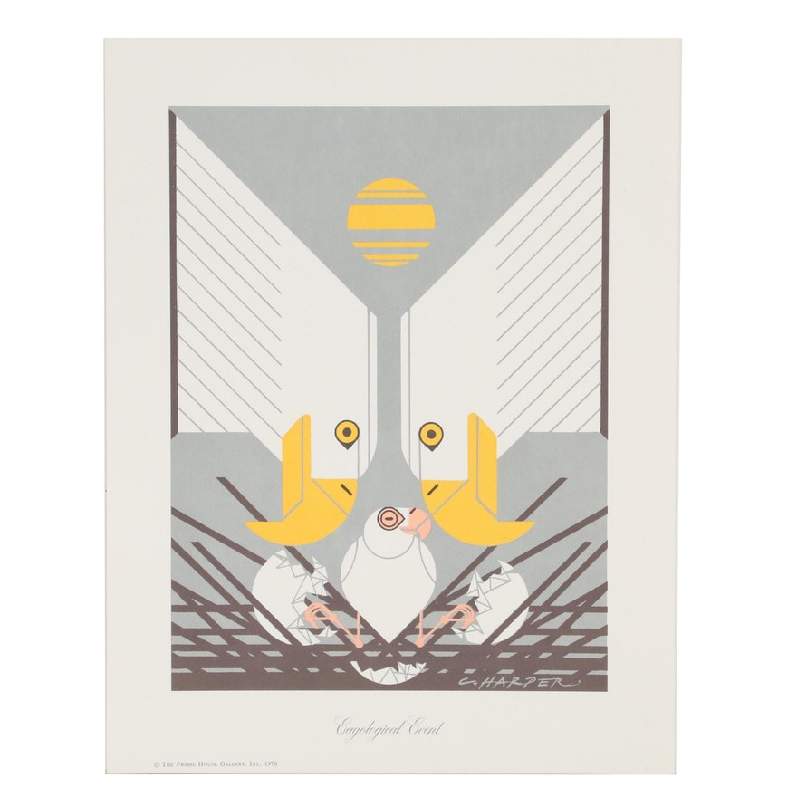 "Lithograph after Charley Harper ""Eagological Event"", 1976"