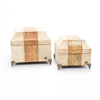 Indian Decorative Footed Nesting Boxes, Contemporary