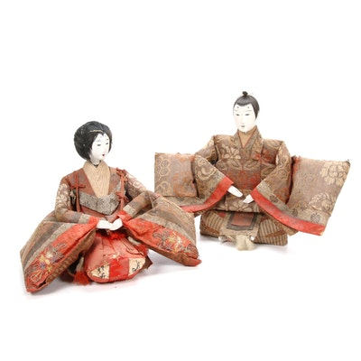 Japanese Hina Emperor and Empress Dolls, Early to Mid 20th Century
