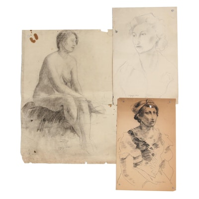 Edgar Yaeger Charcoal Figure Drawings, Mid to Late 20th Century