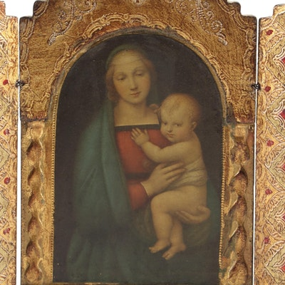 Madonna and Child Giltwood Triptych