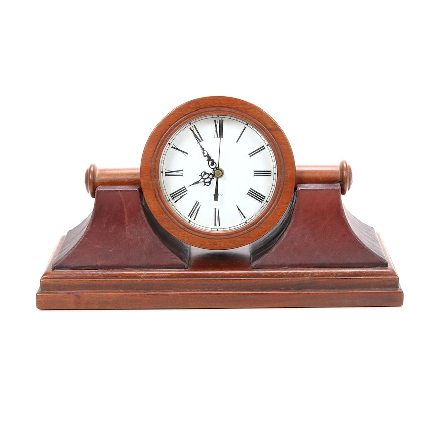 Wood and Leather Rotating Tambour Mantel Clock