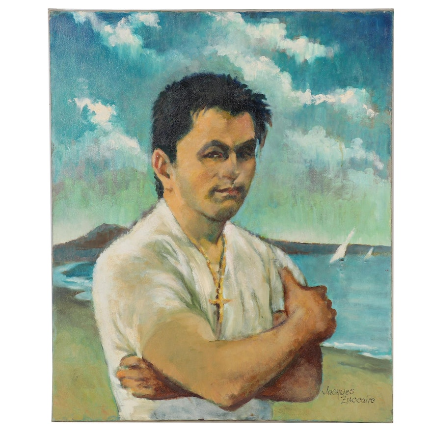 Jacques Zuccaire Oil Portrait of Man at the Beach, Late 20th Century
