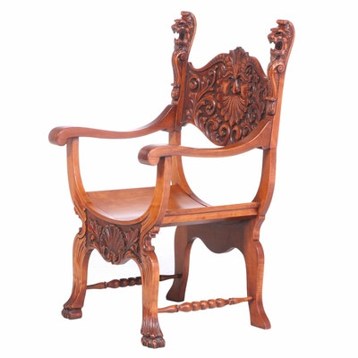Renaissance Revival Carved Birch Curule Armchair, Late 19th/Early 20th Century