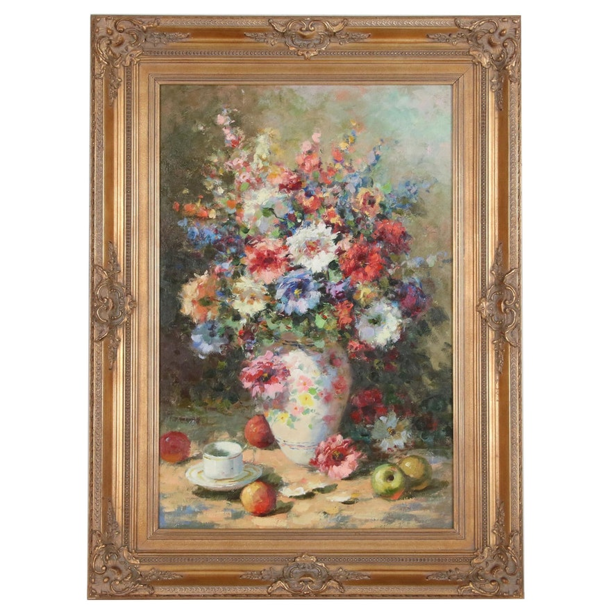 Floral Still Life Oil Painting, Late 20th to 21st Century