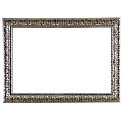 Embossed Metal Rectangular Wall Mirror with Beveled Glass